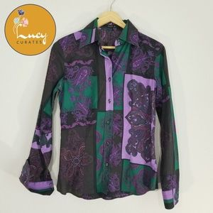 Etro made in Italy paisley womens button up top